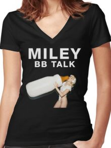 miley cyrus bb talk baby bottle Women's Fitted V-Neck T-Shirt