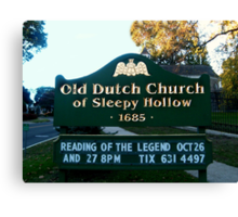 Old Dutch Reformed Church Sign, Sleepy Hollow NY Canvas Print