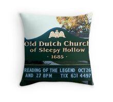Old Dutch Reformed Church Sign, Sleepy Hollow NY Throw Pillow