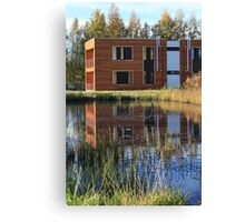 Modern buildings on the lake Canvas Print