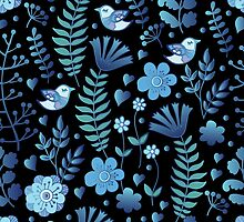 Vintage floral pattern on a black background by Anna  Yudina