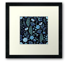 Vintage floral pattern on a black background Framed Print