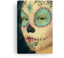 Day of The Dead - Sugar Skull Face Paint Portrait Canvas Print