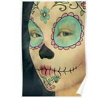 Day of The Dead - Sugar Skull Face Paint Portrait Poster