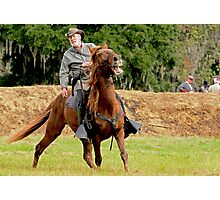 Civil War Soldier and Horse Photographic Print