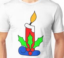Christmas Candle with Holly Unisex T-Shirt