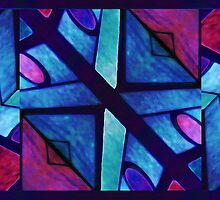Abstract in Red and Blue by DFLC Prints