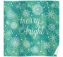 Merry and Bright hand lettering Poster