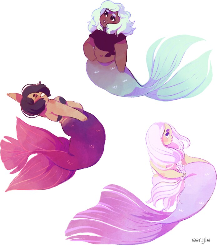 Quot Cute Mermaids Sticker Set Quot Stickers By Sergle Redbubble