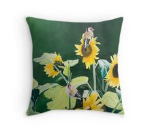 Goldfinches and Sunflowers Throw Pillow