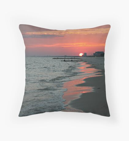 Sunset on Biloxi Beach Throw Pillow