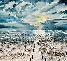 beach sunset art print by derekmccrea