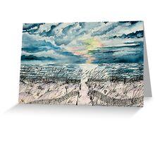 beach sunset art print Greeting Card