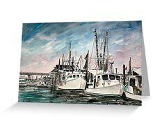 boats nautical art print Greeting Card