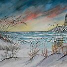 lighthouse beach art print by derekmccrea
