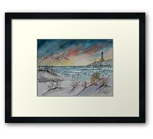 lighthouse beach art print Framed Print