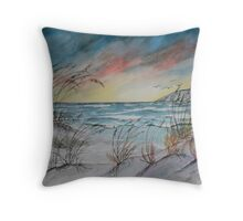 lighthouse beach art print Throw Pillow
