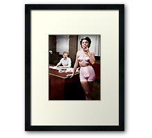 Female Lingerie Model Colorized Framed Print