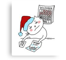Wish list for Christmas : snow !! / Cat doodle Canvas Print