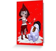 The Witch and the Snowman Greeting Card
