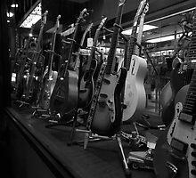 Guitars. Greenwich Village. B&W by Amanda Vontobel Photography