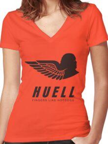 Huell: Fingers Like Hotdogs Women's Fitted V-Neck T-Shirt