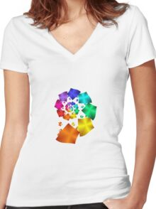 Colorful Geometric Spiral Women's Fitted V-Neck T-Shirt