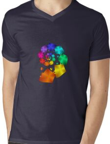 Colorful Geometric Spiral Mens V-Neck T-Shirt