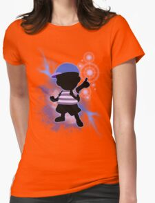 Super Smash Bros. Blue Ness Silhouette Womens Fitted T-Shirt
