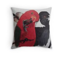 'KOOKY, KING PARROT, MAGPIE' Throw Pillow