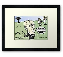 Editorial balding Andrew Jackson cartoon Framed Print