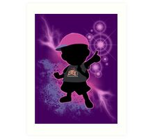 Super Smash Bros. Black/Purple Ness Silhouette Art Print