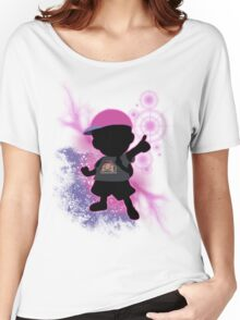 Super Smash Bros. Black/Purple Ness Silhouette Women's Relaxed Fit T-Shirt