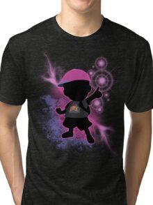 Super Smash Bros. Black/Purple Ness Silhouette Tri-blend T-Shirt
