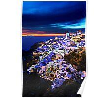 Night falling in Oia, Santorini Poster