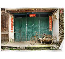 Bicycle in Xingping town Poster