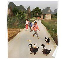 Yangshuo children and ducks Poster