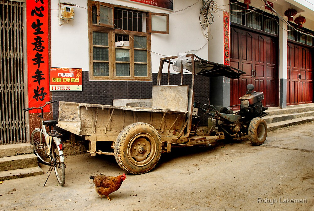 Farmer's truck and hen in Liugong old village by Robyn Lakeman