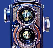 Vintage Classic Retro Blue Chrome Rolleiflex dual lens camera by Johnny Sunardi
