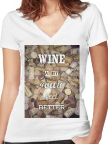 Wine a bit Women's Fitted V-Neck T-Shirt