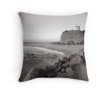 Nobbys Lighthouse - B&W Throw Pillow