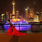 Lady in red in Shanghai by Robyn Lakeman