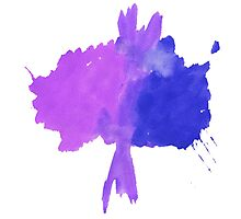 Watercolor abstract tree in purple and blue Photographic Print