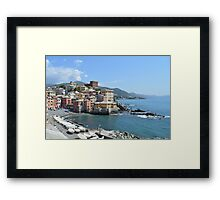 Italian Coastal Villlage and Beach Framed Print