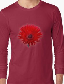Red Painted Daisy Long Sleeve T-Shirt