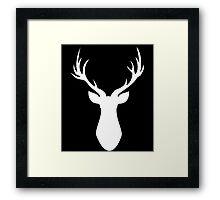 Stag (White) Framed Print