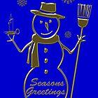 Gold Snowman Seasons Greetings Card by David Dehner