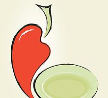 background for menu with pepper and plate by Irinavk