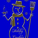 Gold Snowman Holiday Greetings Card by David Dehner