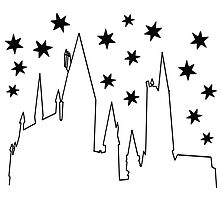 Harry Potter Fandom Castle Stars Geeky Black Design by krochelle